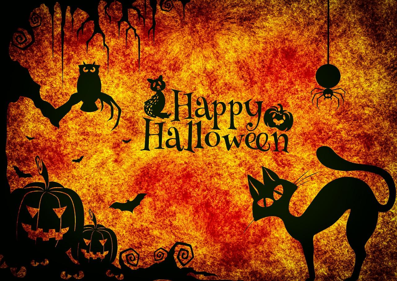 Halloween Bild mit Halloween Figuren und Happy Halloween für Halloweenparty