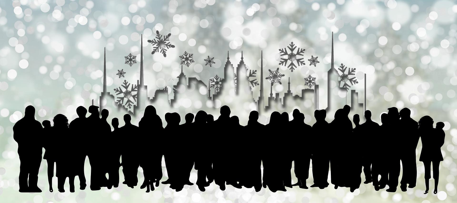 Zeichnung Menschengruppe vor Skyline mit Eiskristallen